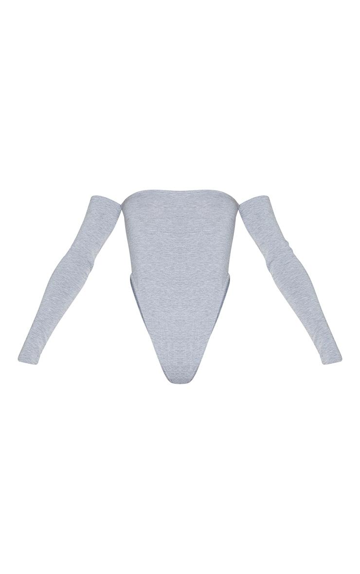 Grey Marl Jersey Bardot High Leg Bodysuit 5