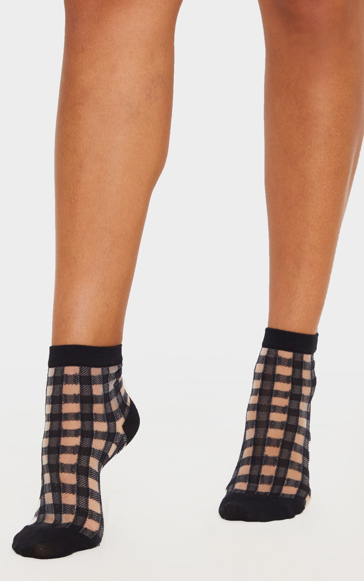 black-check-sheer-socks by prettylittlething