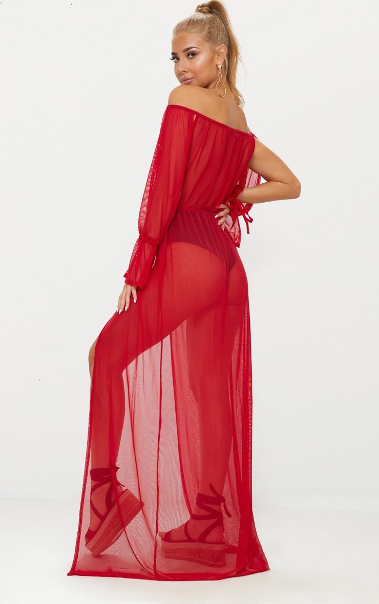 Red Off Shoulder Tie Cuff Beach Dress 2