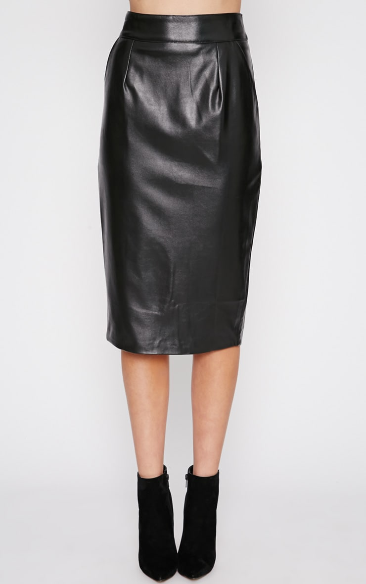 Imogen Black Leather Midi Skirt 4