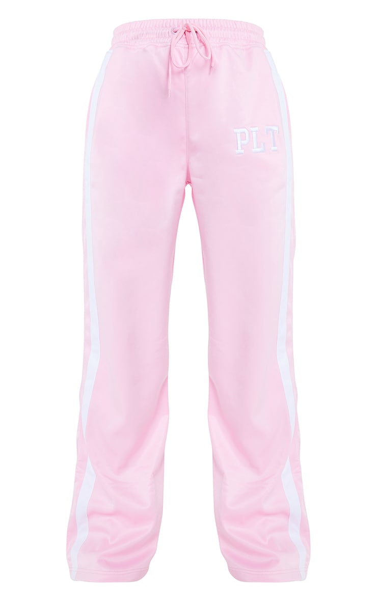 PRETTYLITTLETHING Pink Tricot Side Stripe Joggers 5