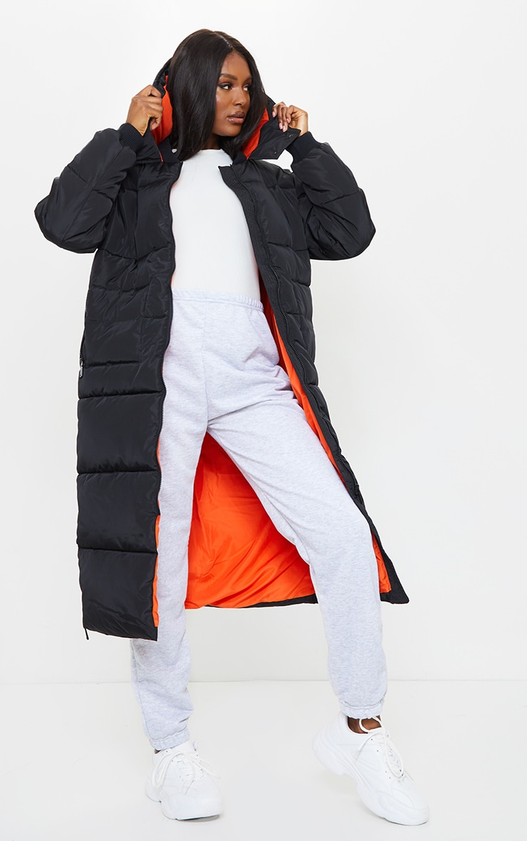 Tall Black Maxi Contrast Hooded Puffer Jacket 1