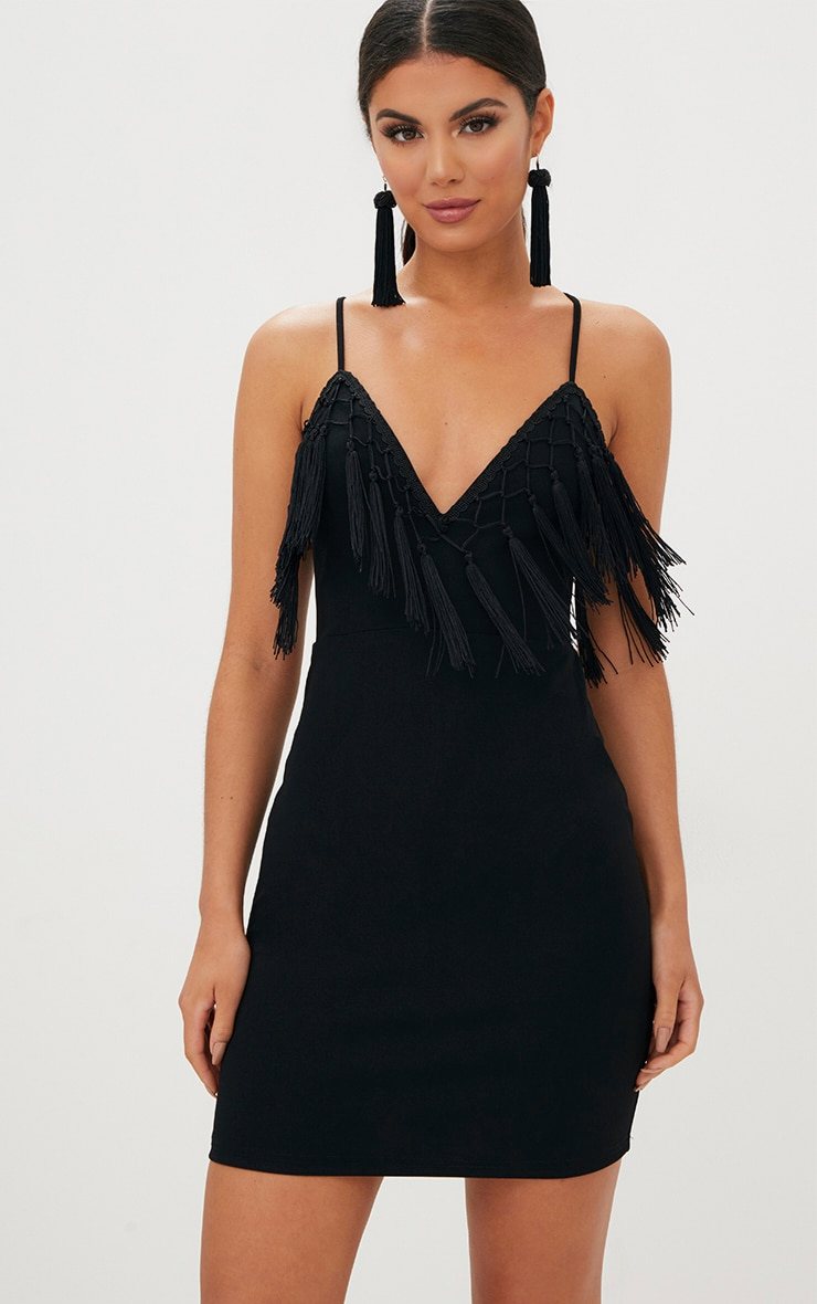 Black Tassel Detail Strappy Bodycon Dress 1