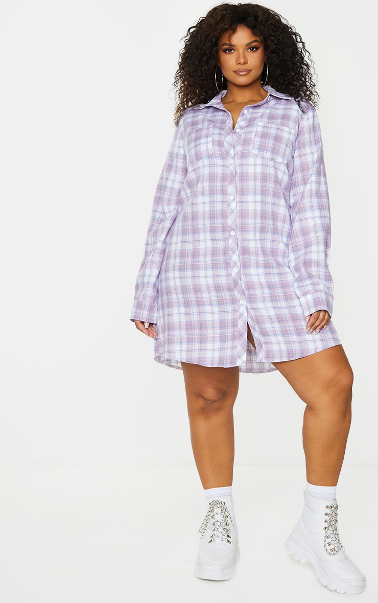 Plus Lilac Checked Oversized Shirt Dress 3