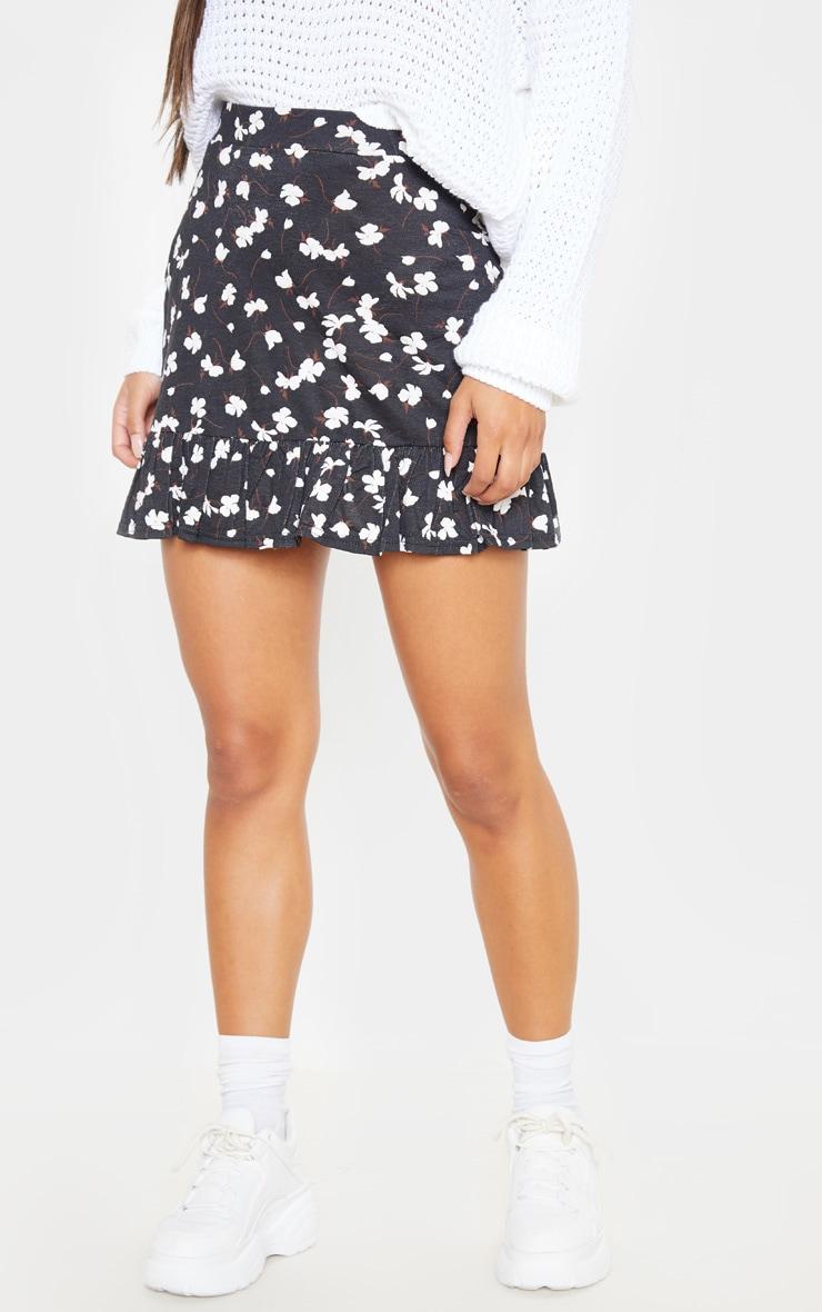 Black Ditsy Floral Frill Hem Skater Skirt  2