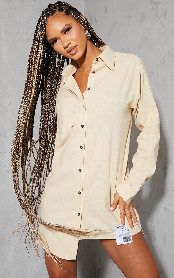 PRETTYLITTLETHING Stone Hem Detail Textured Shirt Dress 1