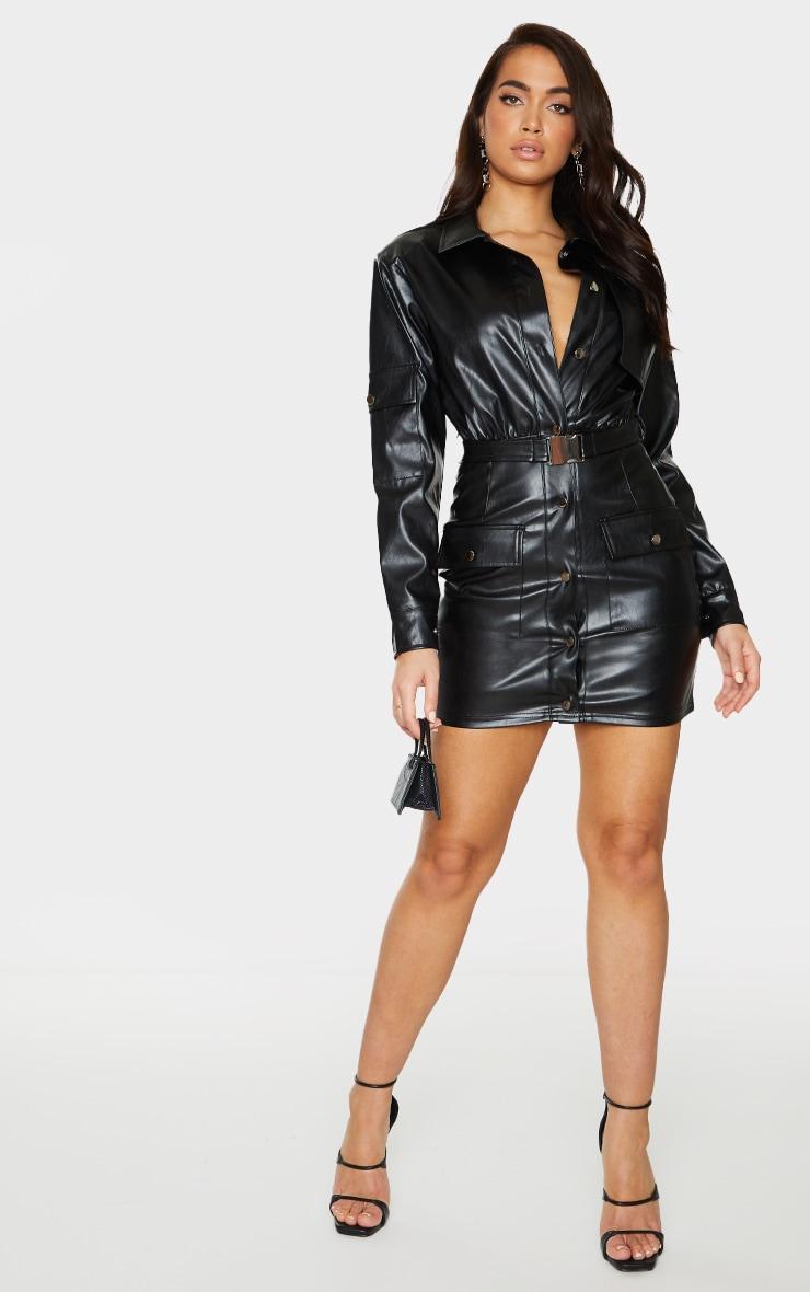 Black Faux Leather Multi Pocket Detail Utility Shirt Dress 3