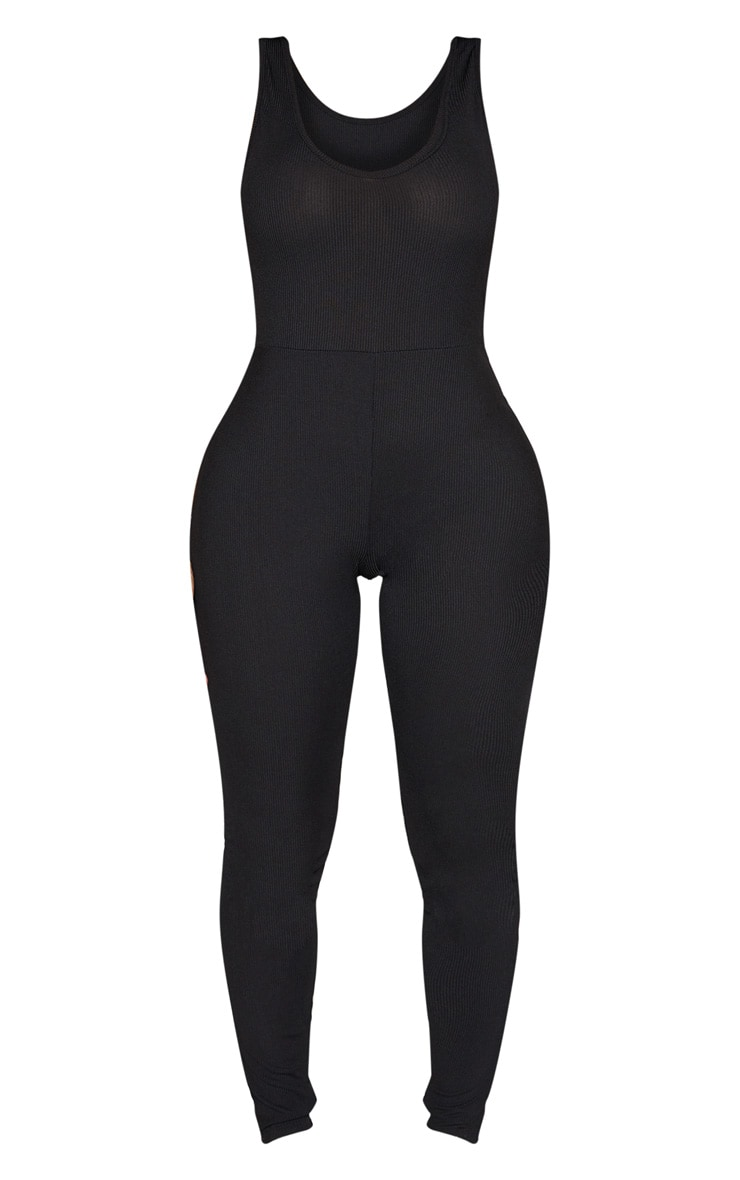Shape Black Ribbed Scoop Neck Jumpsuit 3