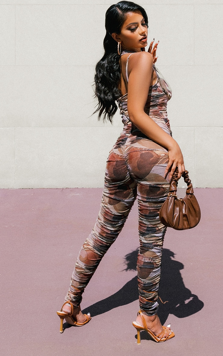 Nude Abstract Print Cross Neck Strap Detail Ruched Mesh Jumpsuit