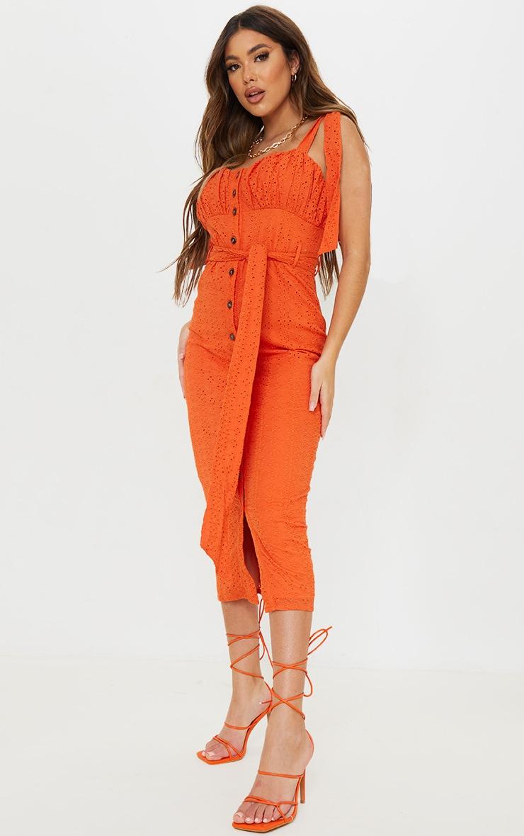 Orange Broderie Anglaise Tie Shoulder Button Down Midi Dress 1