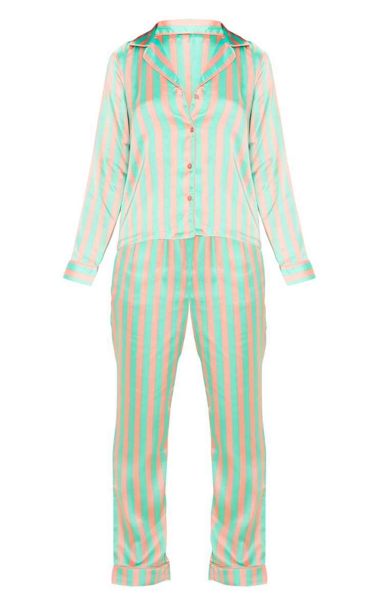 Sage Green Striped Satin Button Up Long PJ Set 3