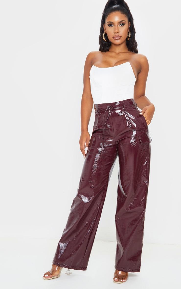 Burgundy Cracked Faux Leather Pocket Detail Wide Leg Pants 1