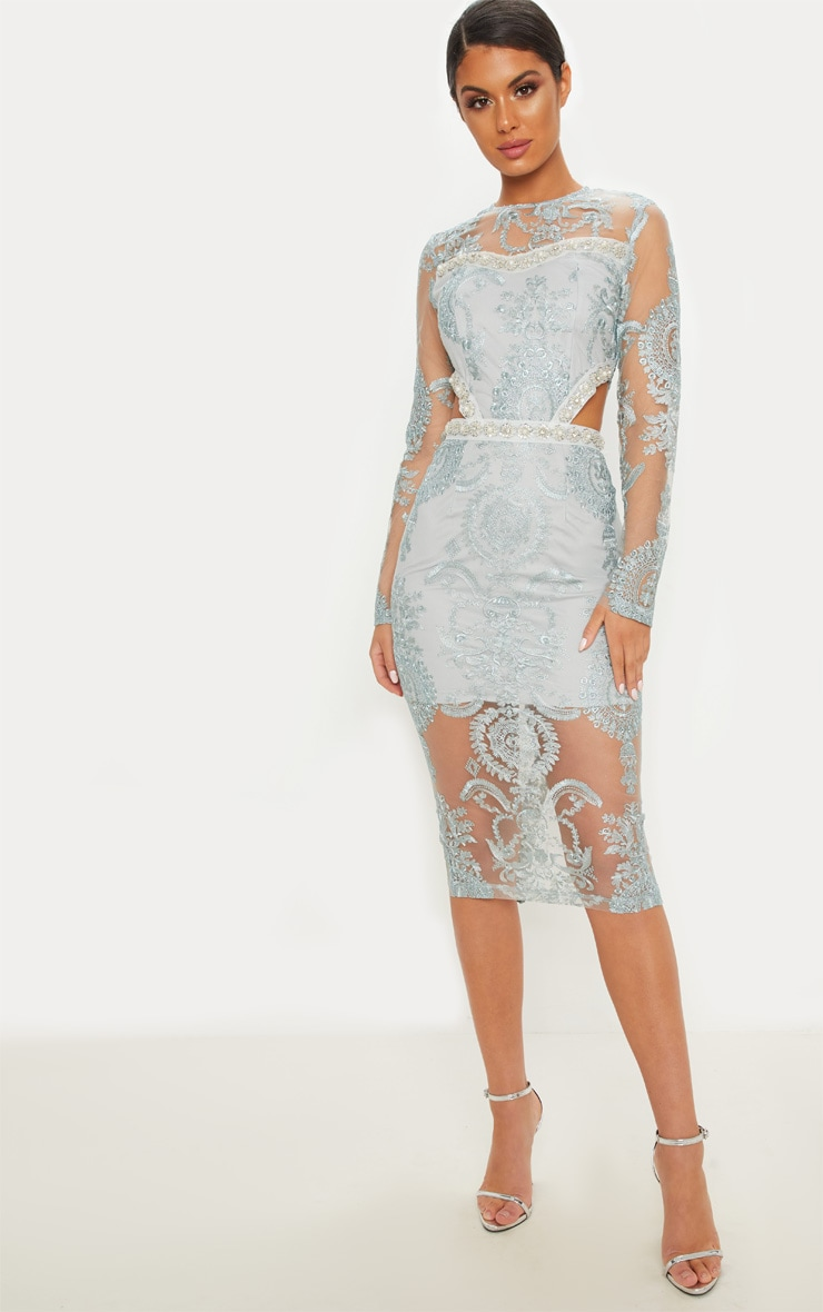 Grey Embroidered Lace Embellishment Detail Cut Out Midi Dress