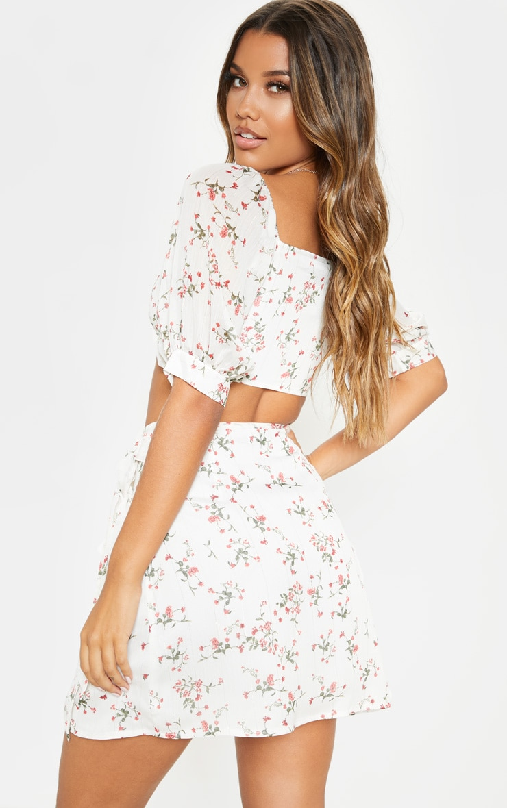 White Ditsy Floral Bardot Puff Sleeve Crop Top 2