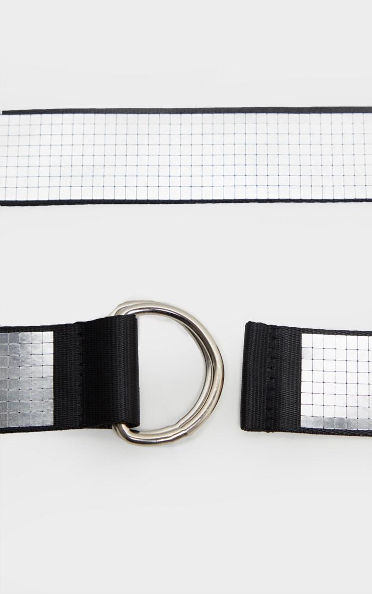 Silver Disco Ball Fabric D Ring Tape Belt 3