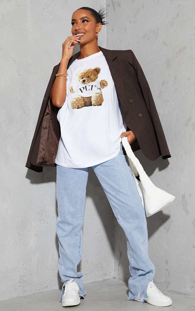 PRETTYLITTLETHING Cream Teddy Print T Shirt 3