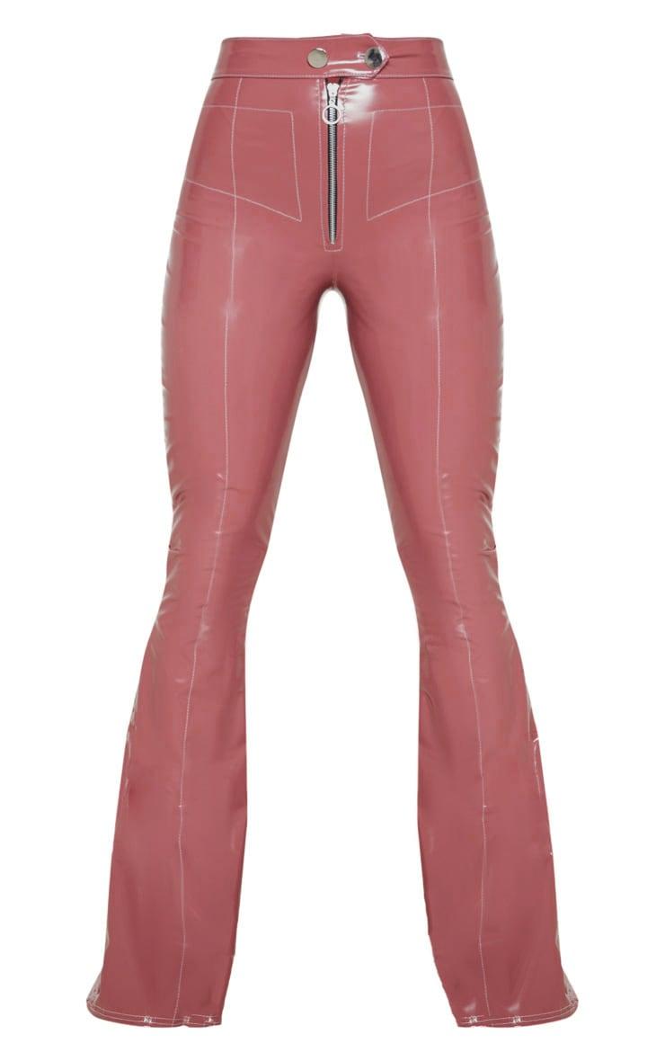 Mauve Vinyl Contrast Stitch Popper Front Flared Trouser 3