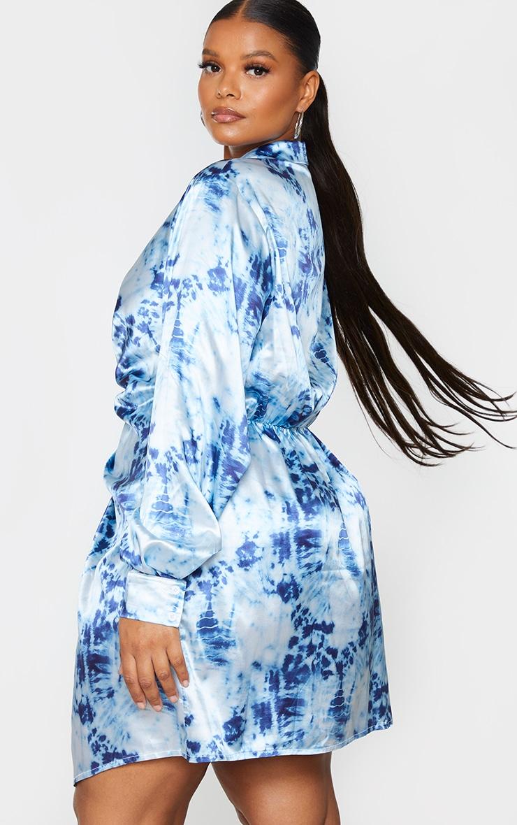Plus Blue Tie Dye Satin Twist Front Dress 2