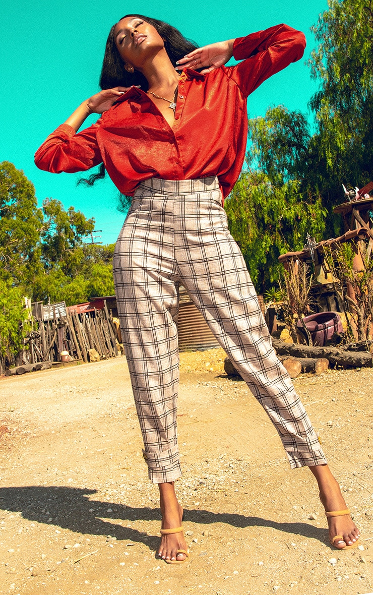 Brown Check Peg Leg Trouser