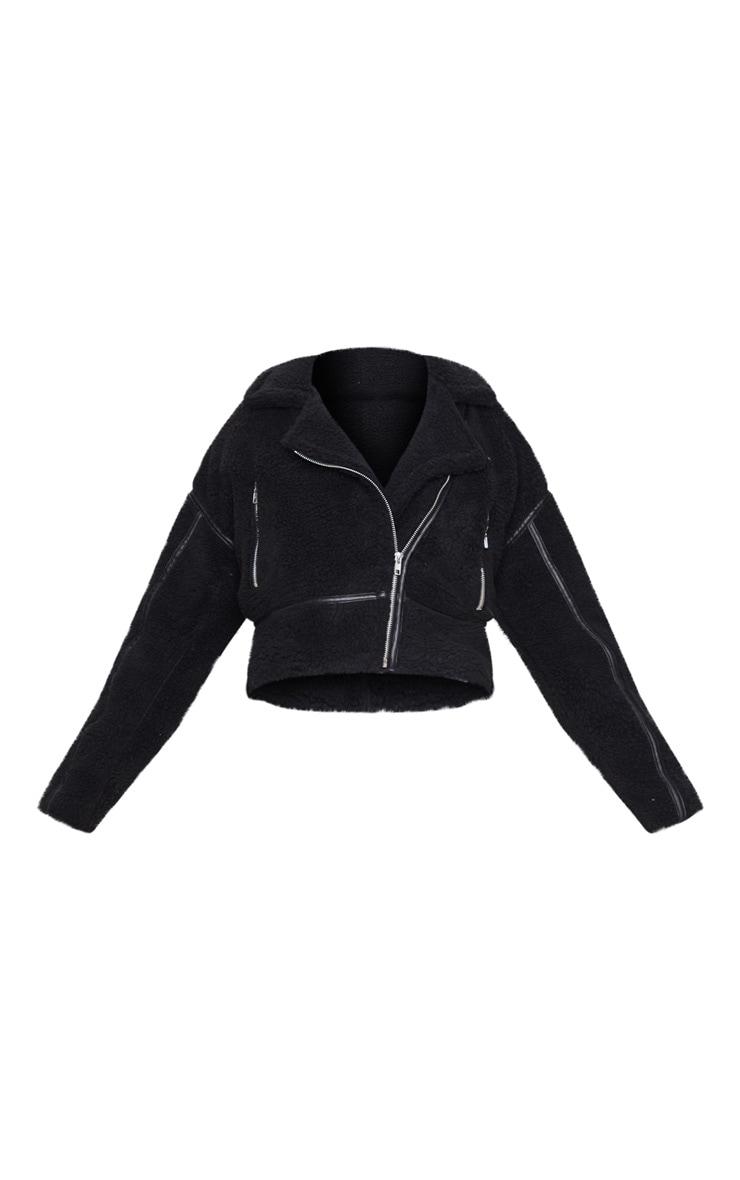 Black Borg Zip Detail Biker Jacket 3