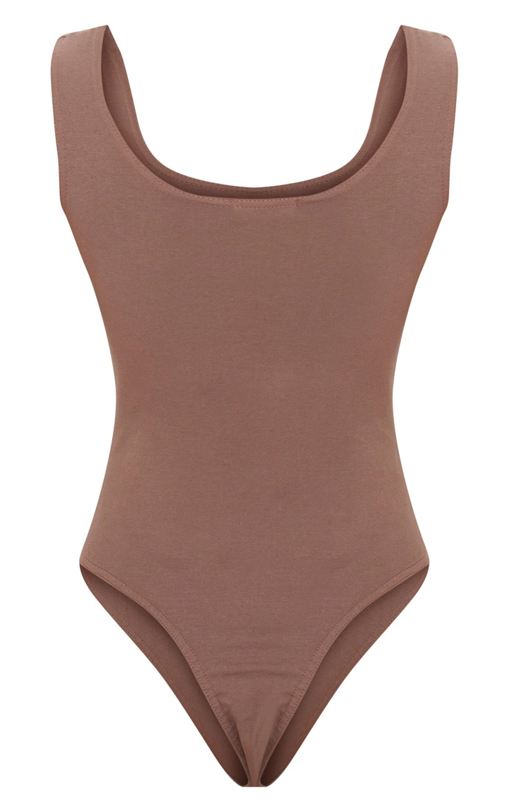 Brown Cotton Stretch Scoop Neck Thong Bodysuit 4