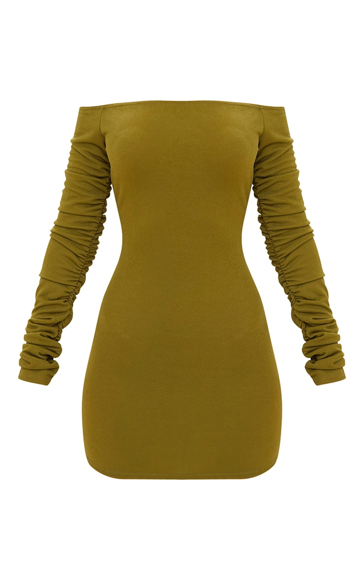 Olive Green Ruched Arm Bardot Bodycon Dress 3