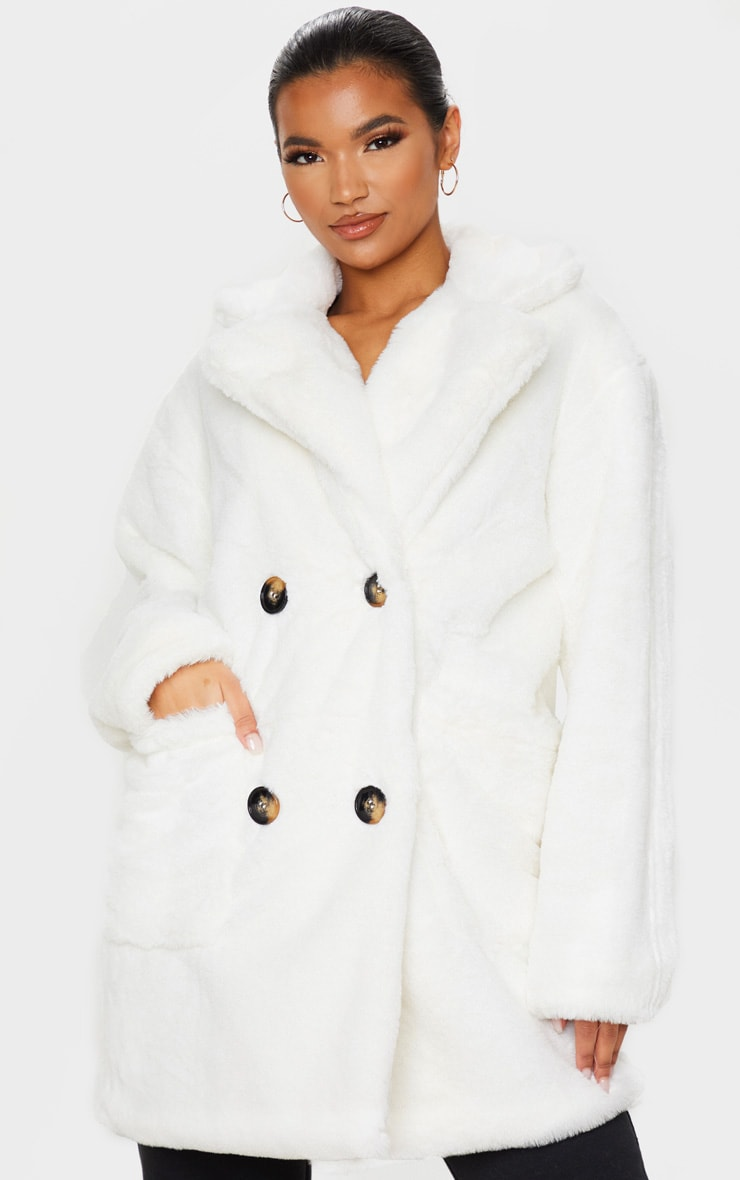 Cream Faux Fur Double Breasted Button Detail Coat 1