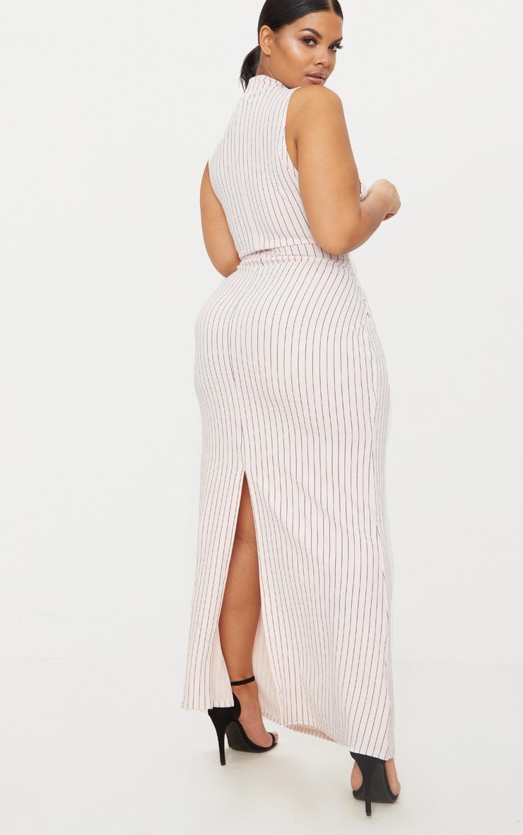 Plus Nude Pinstripe High Neck Maxi Dress 2