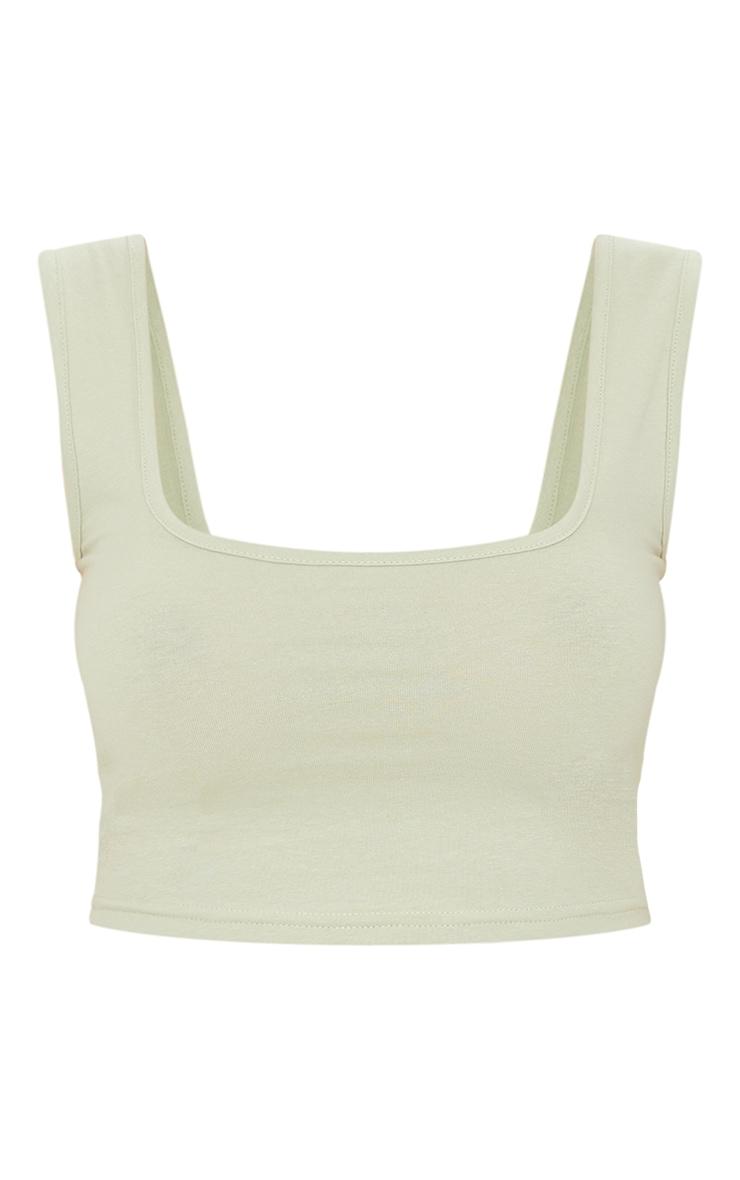 Basic Sage Green Jersey Square Neck Crop Vest 5