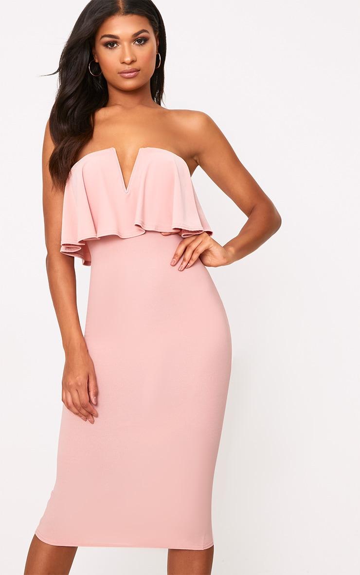 Dusty Pink Frill Plunge Bandeau Midi Dress 1