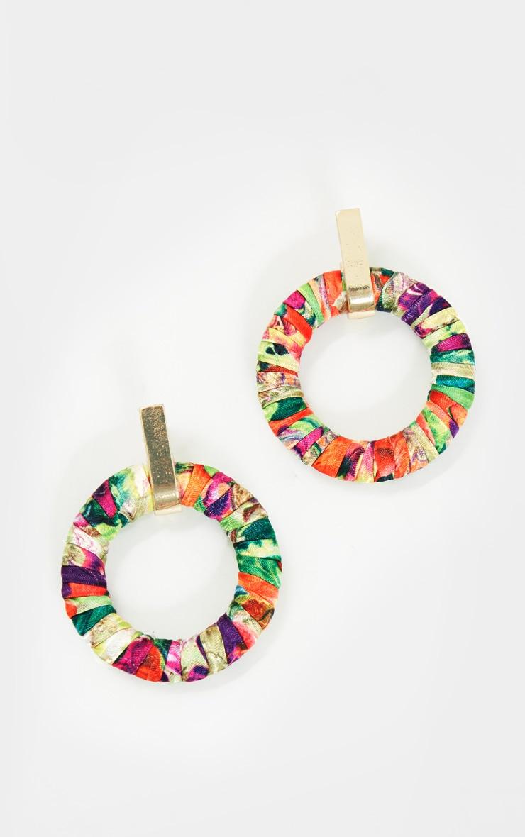 Multi Floral Door Knocker Earrings 2