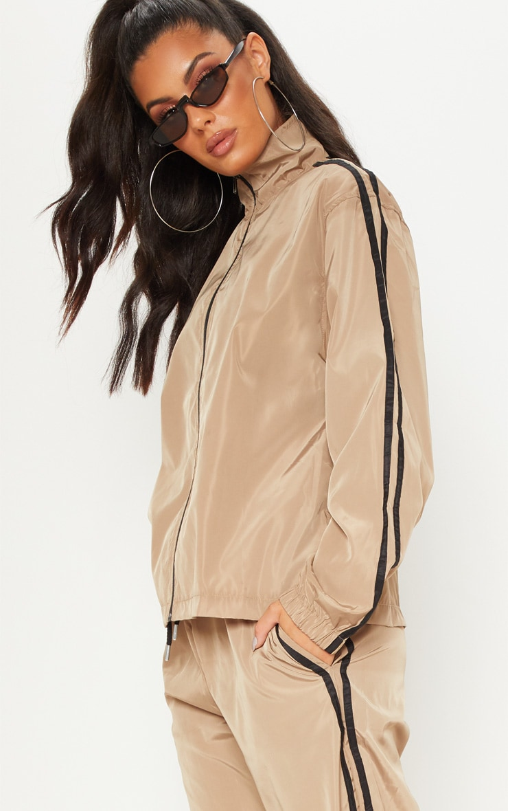 Taupe Contrast Track Stripe Shell Zip Up Jacket