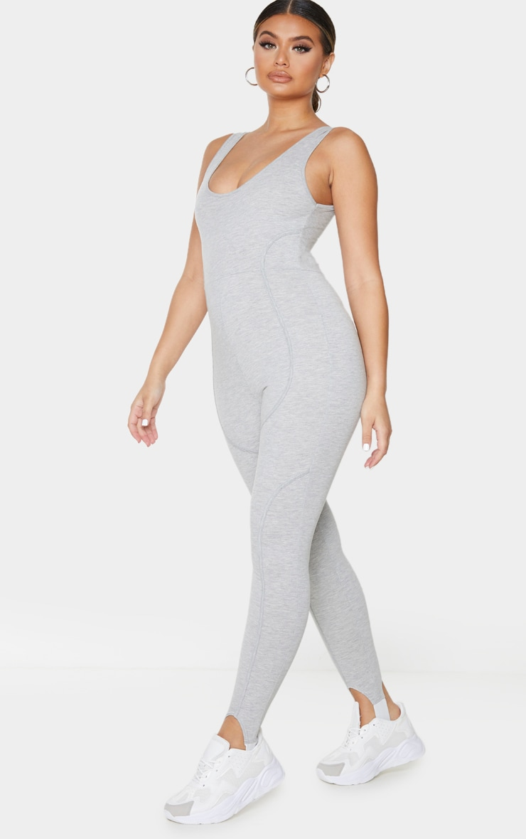 Grey Binding Detail Scoop Neck Stirrup Jumpsuit 3