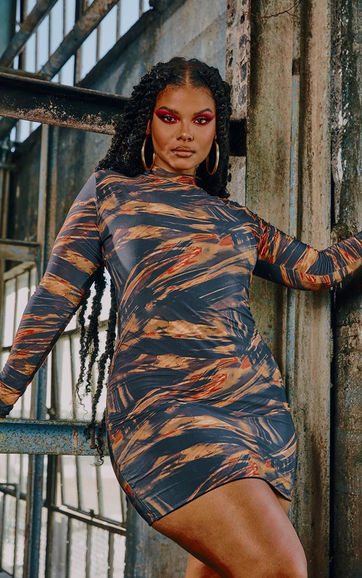 Plus Rust Abstract Print Slinky High Neck Bodycon Dress 3