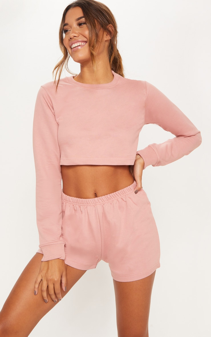 Rose Cropped Sweat PJ Set