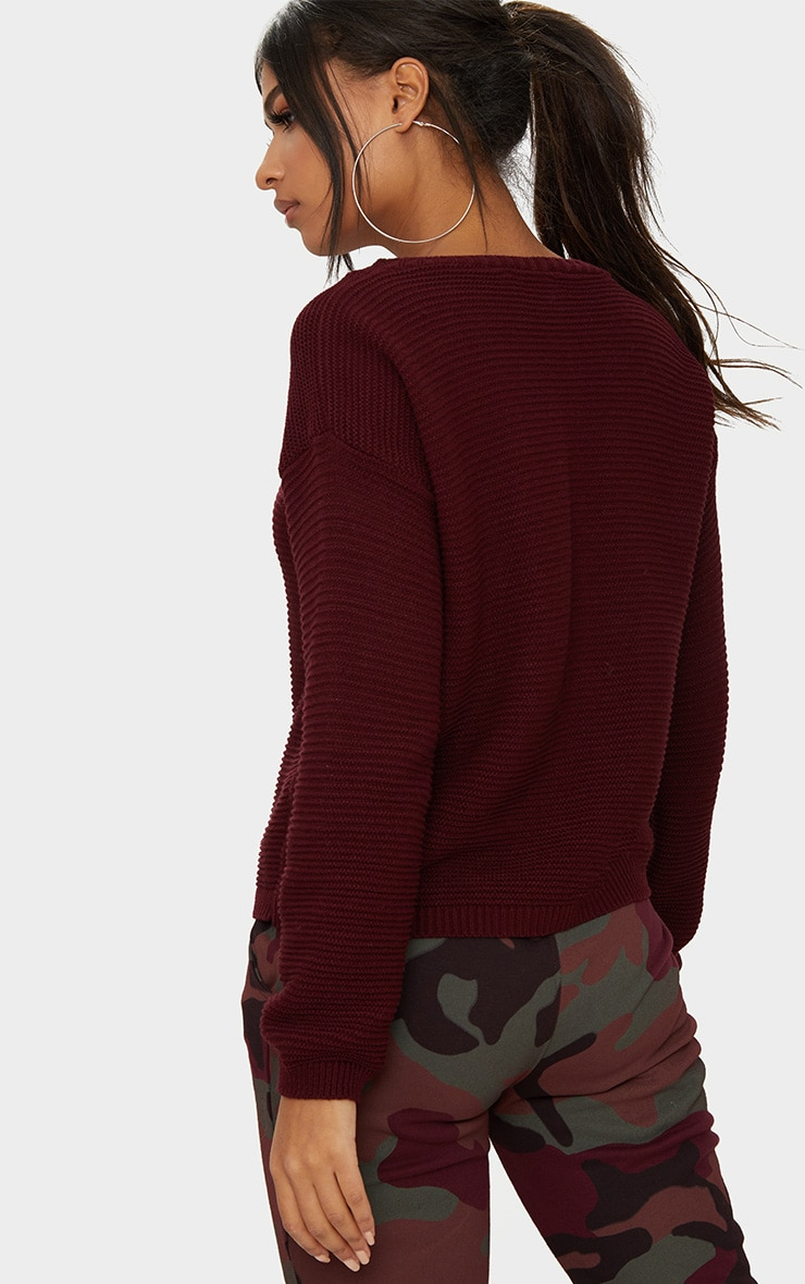 Burgundy Rib Crop Jumper 2