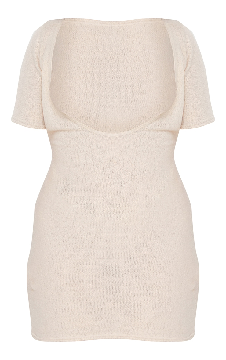 Plus Stone Sheer Brushed Knit Cut Out Halterneck Bodycon Dress 5