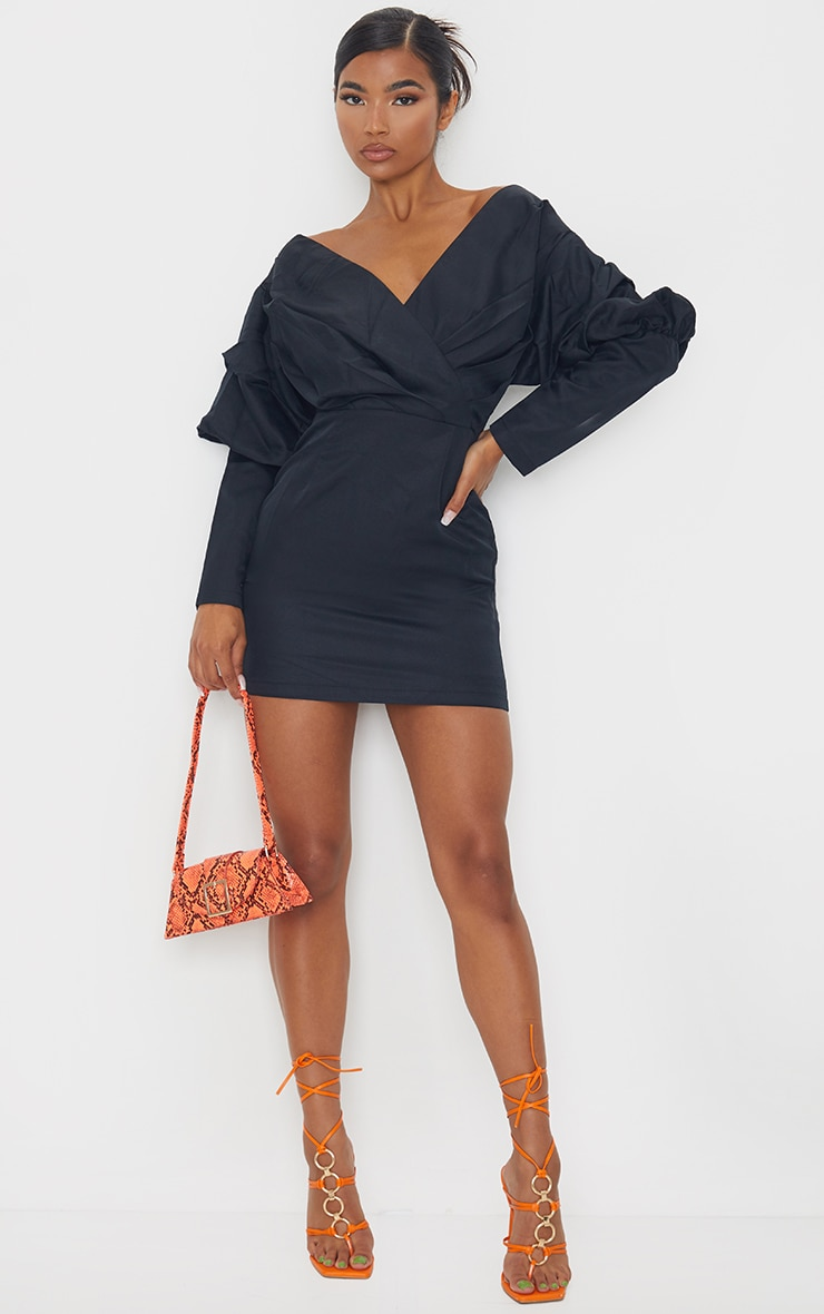 Black Off The Shoulder Ruched Bodycon Dress 3