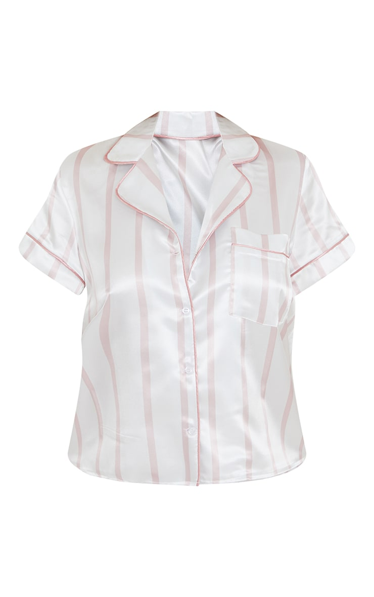 Pale Pink Stripe Mix And Match Satin Button Up PJ Top 5