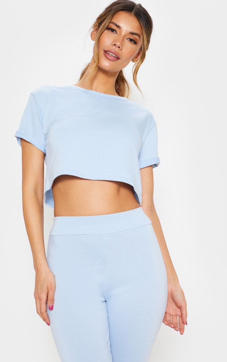 baby blue short sleeve lounge top