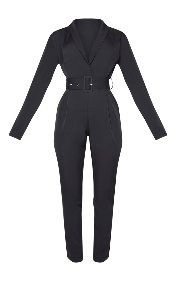 Black Lapel Detail Belted Jumpsuit 3