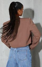 Mocha Woven Cropped Shoulder Padded Blazer 2
