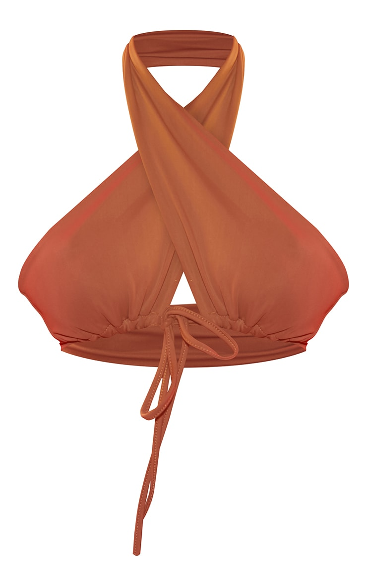 Mocha Plunge Tie Front Bikini Top 5