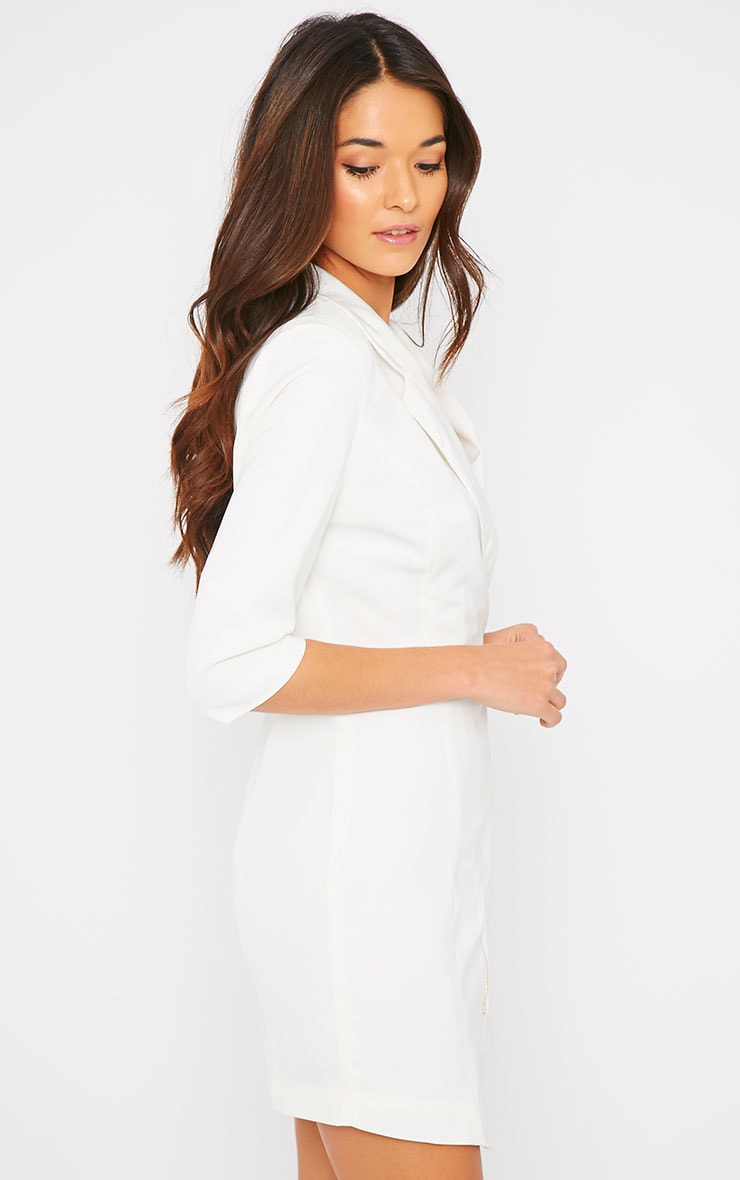 Maryam Cream Longline Asymmetric Zip Front Blazer Dress 6