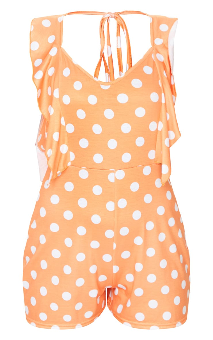Tangerine Polka Dot Frill Playsuit 5