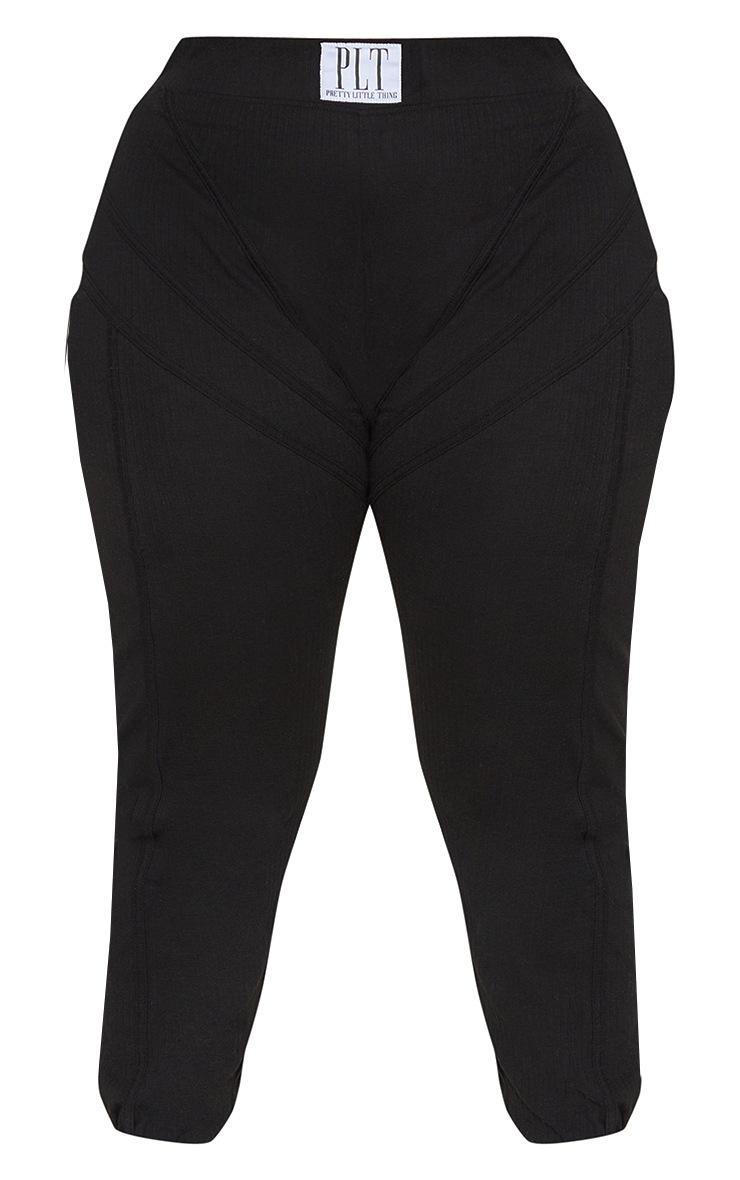 Plus Black Badge Detail Rib Leggings 5