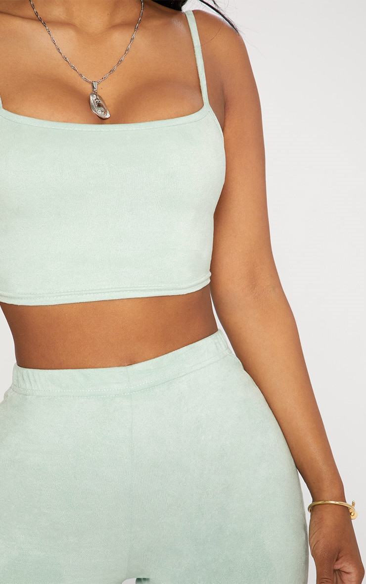 Shape Sage Green Faux Suede Strappy Crop Top 5