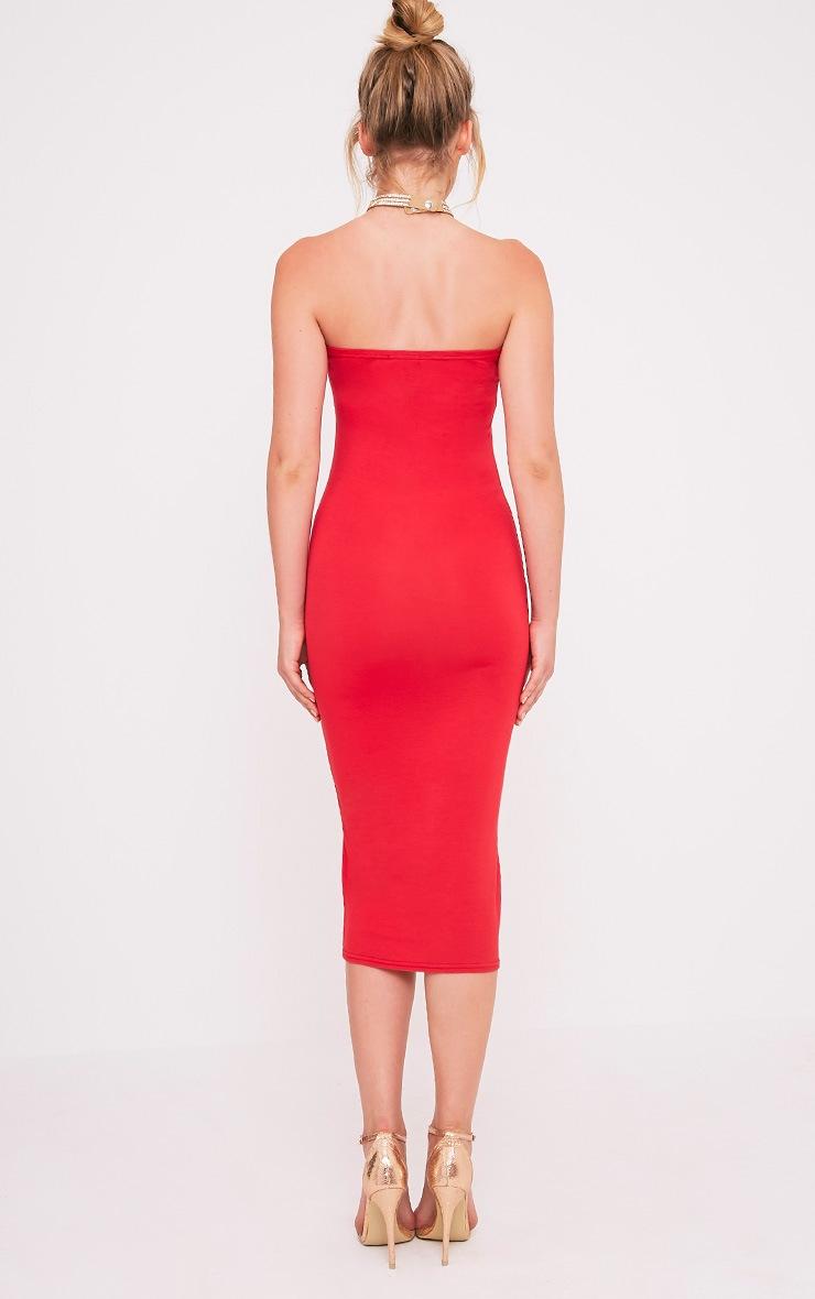 Basic robe midi bandeau rouge en jersey 2