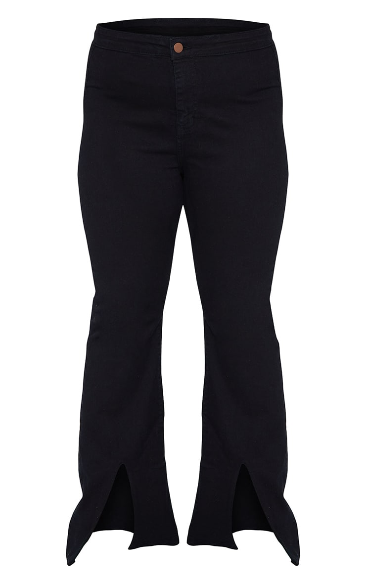 Plus Black High Waist Split Hem Flared Jeans 5