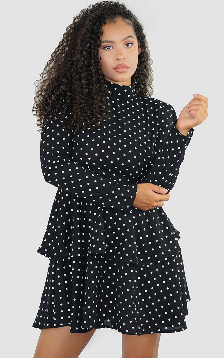 Black Polka Dot High Neck Tiered Skater Dress 1